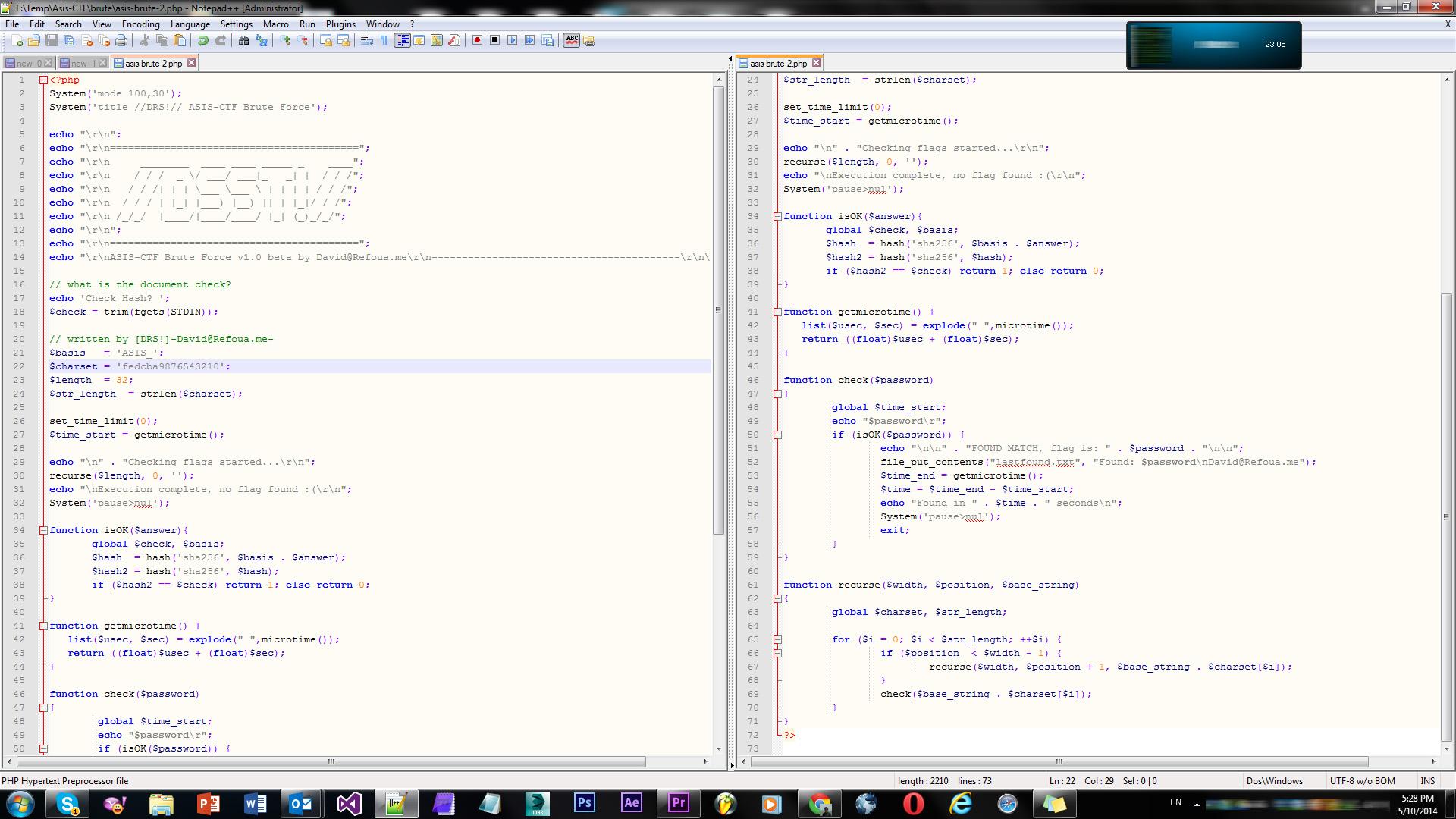سورس یک کد برای بروت فورس فلگهای ASIS-CTF :p